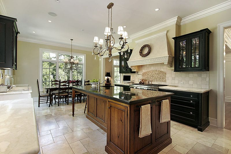 Black Island Countertop With Wooden Cabinet With No Stools