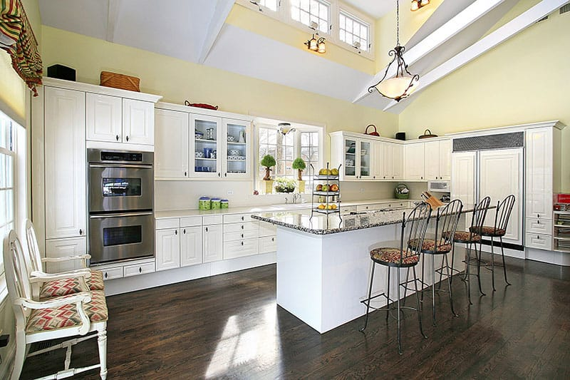 Calm And Serene Atmosphere Kitchen With White Island