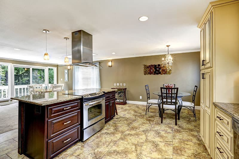Kitchen Island In A Kitchen With Diverse Set Of Colors