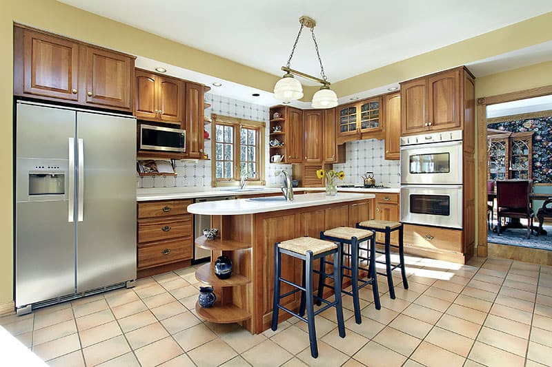 Sink Kitchen Island With Oak Cabinetry