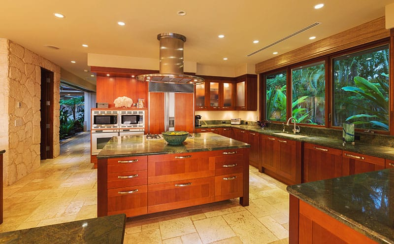 Beaming Countertop Island With Wooden Cabinets In Luxury Cool Peaceful Home