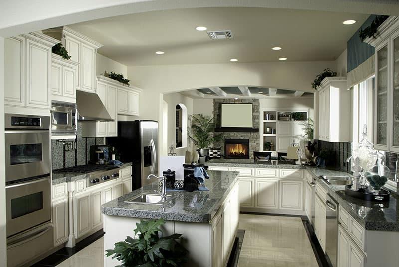 Granite Island In A Small Three Color Kitchen