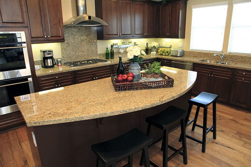 Island With Extended Dome Shaped Countertops