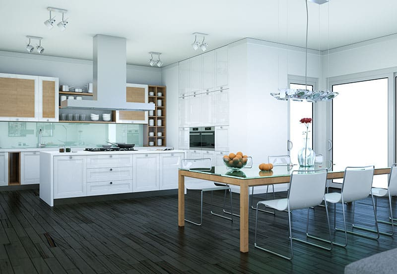 Pure White island in a simple-modern kitchen with high color contrast