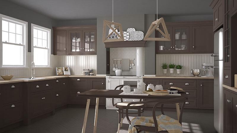 Scandinavian Classic Kitchen Of Wooden And Brown Details Blending With Grey Floor