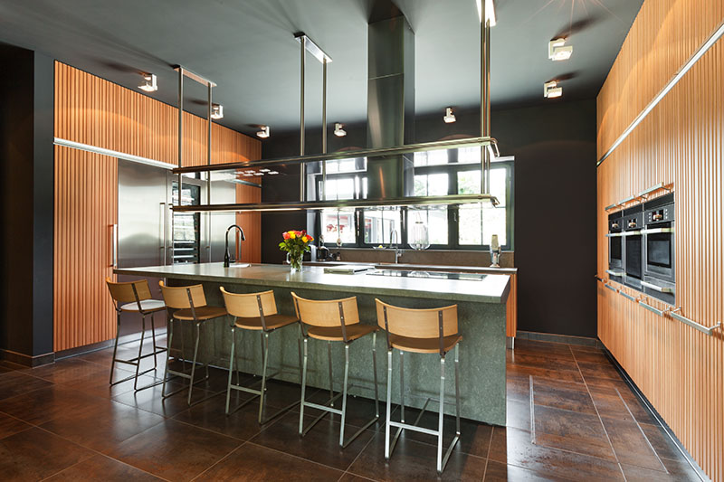 Beaming Wooden Wall Matches The Brown Floor Tile Backsplash
