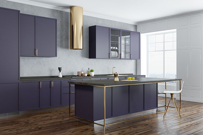 Creative Ordering Of Cabinets The Cool Color Contrasts And A Dark Wood Floor Undertone Creates A Good Conformity