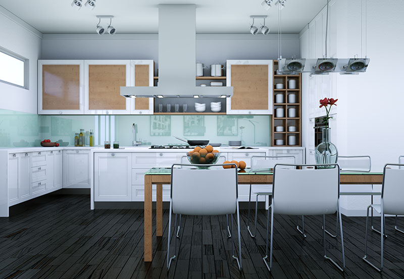 Dash Of Contrast By Using Only The Flooring And Cabinetry