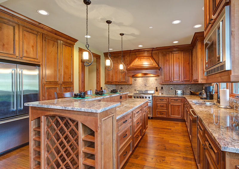 Hardwood Floor Matches The Cabinet On The Upper And Lower Sections