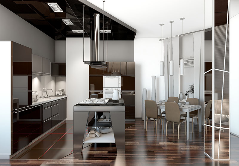 Smooth Dark Flooring Looks Neat And Blends With Cabinets And Chairs For A Unified Color Scheme