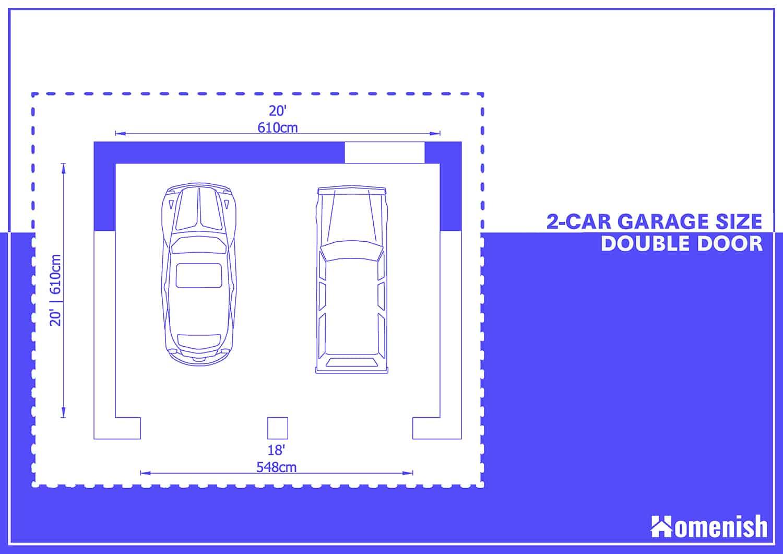 2-car Garage Plan with Double Doors
