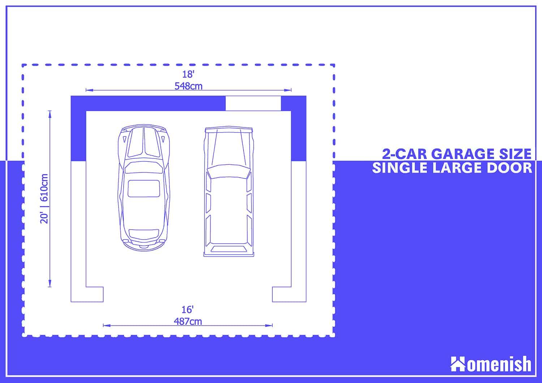 2-car Garage Plan with One Large Door