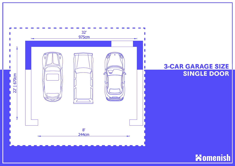 3-car Garage Plan with One Large Door