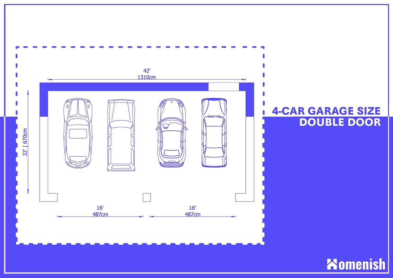 3-car Garage Plan with Double Doors