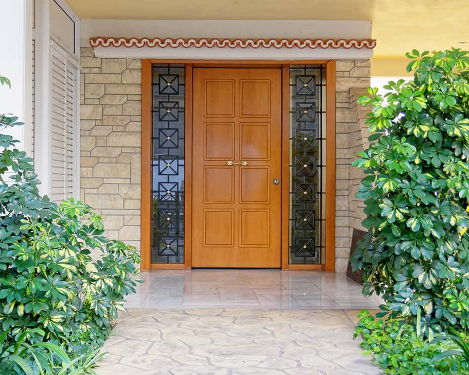 Entry door as focal point in the hallway