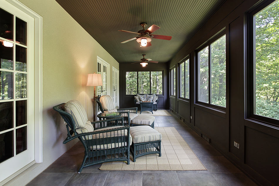 Bird Watching Porch with Dark Wood Paneling