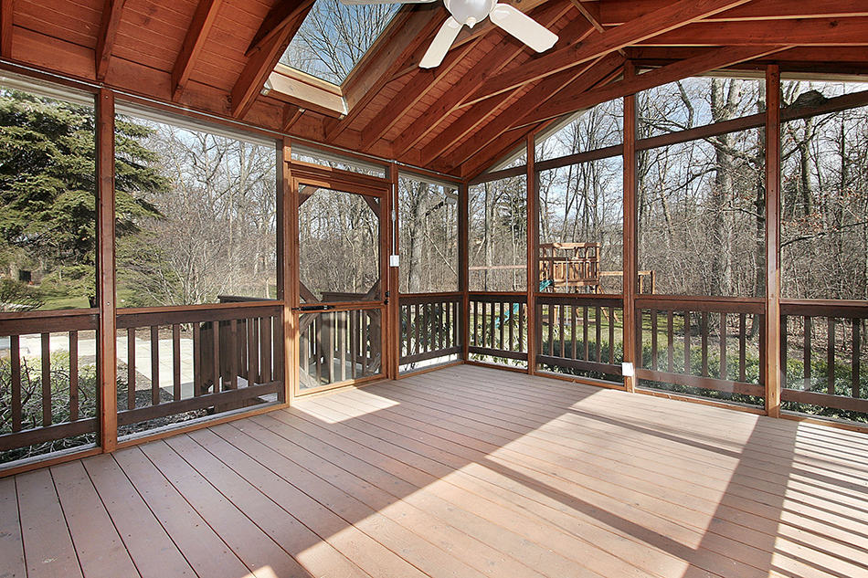 Natural Wood Porch with Skylights