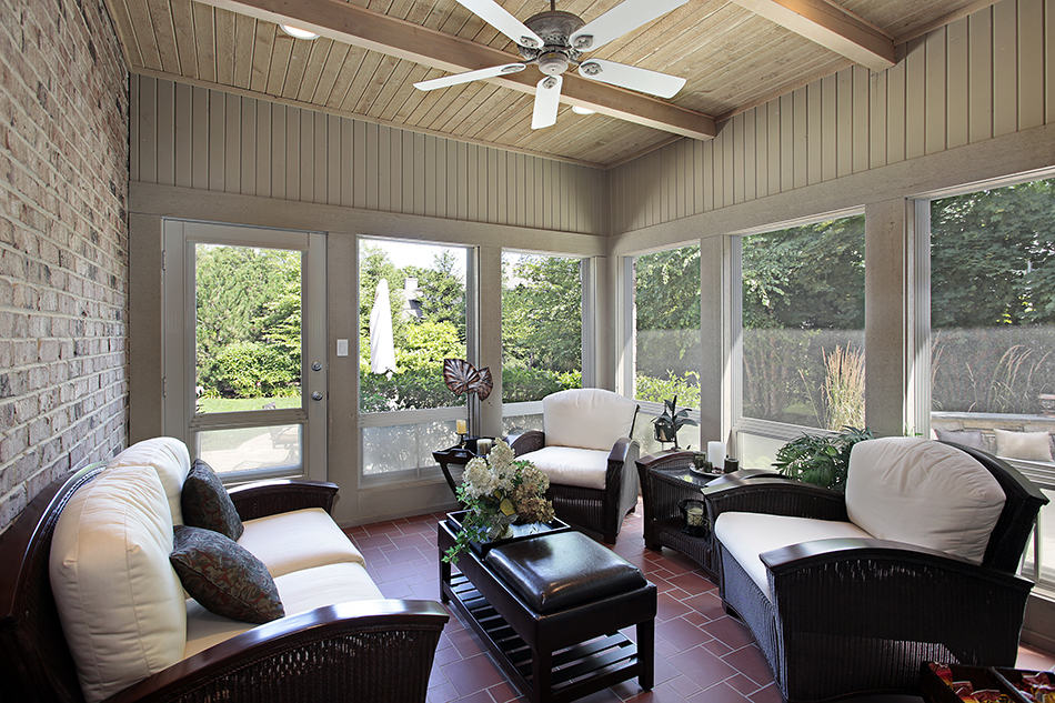 Porch with Brick Wall and Wood Beam Ceiling