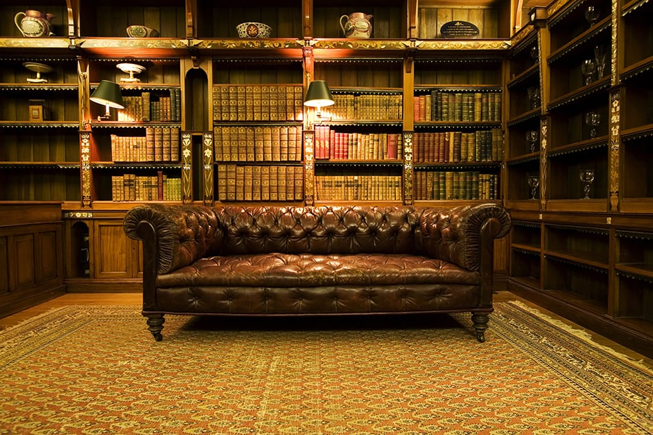 Showcase the Brown Leather Sofa with Bookshelves