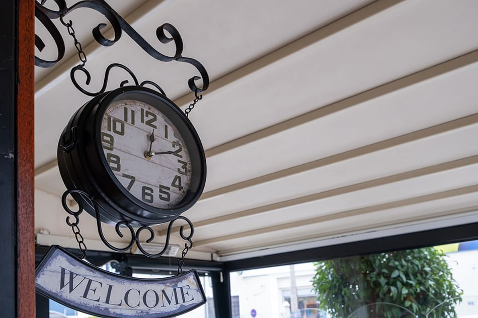 Welcome Sign and Clock