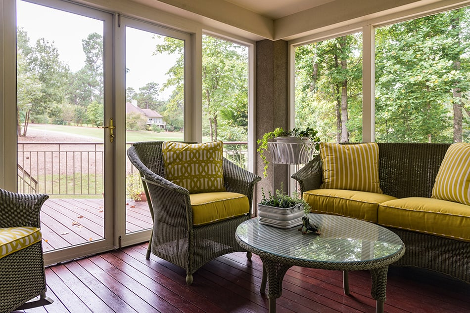 Wicker Furniture Sitting Area with Deck