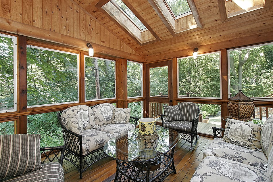 Wood Paneling with Skylights and Plenty of Seating