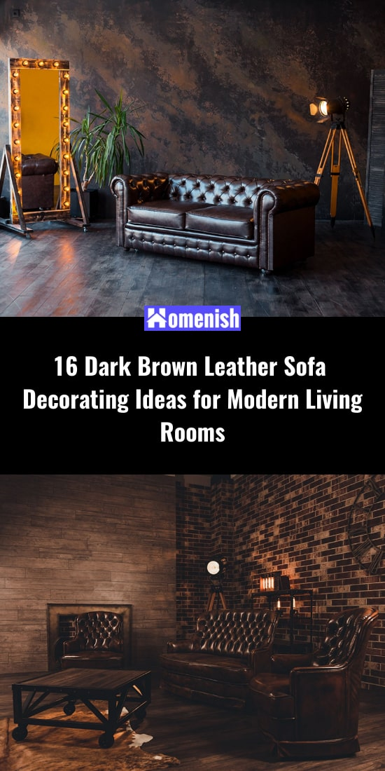 16 Dark Brown Leather Sofa Decorating Ideas for Modern Living Rooms