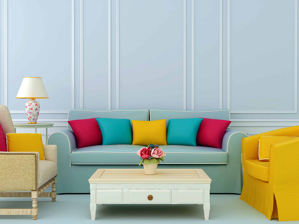Bold Color Furniture with Blue Walls