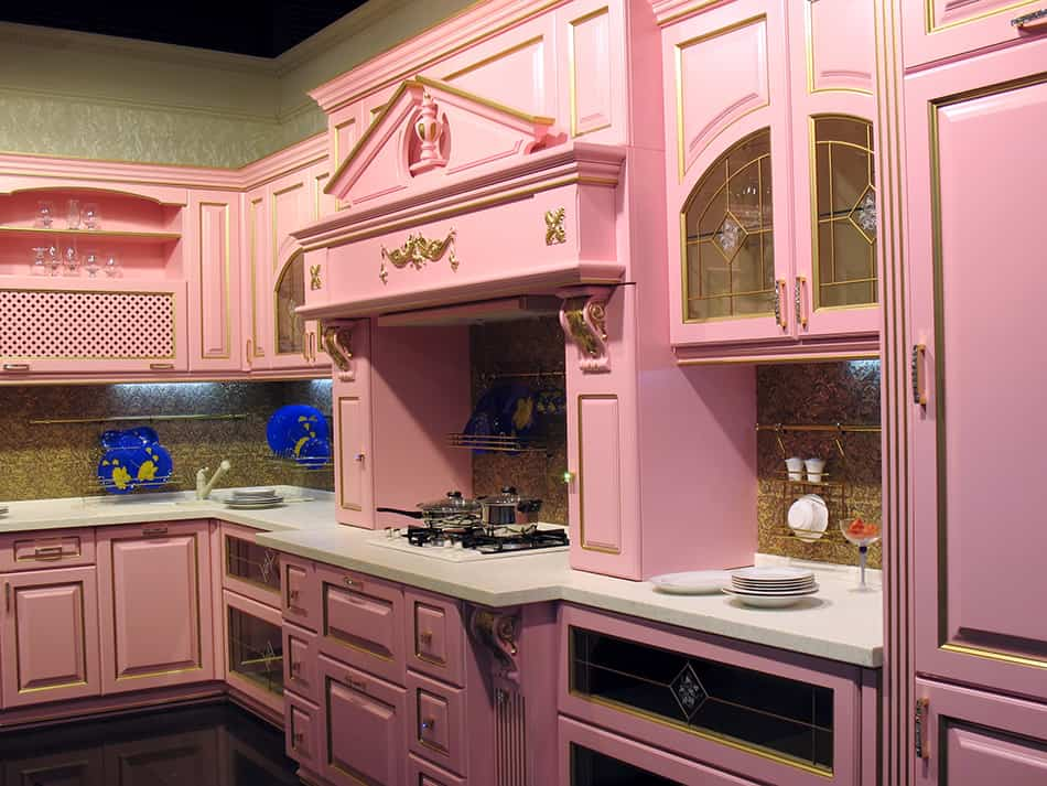 Bright fuchsia pink cabinets