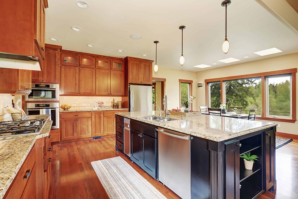Cherry-colored cabinets