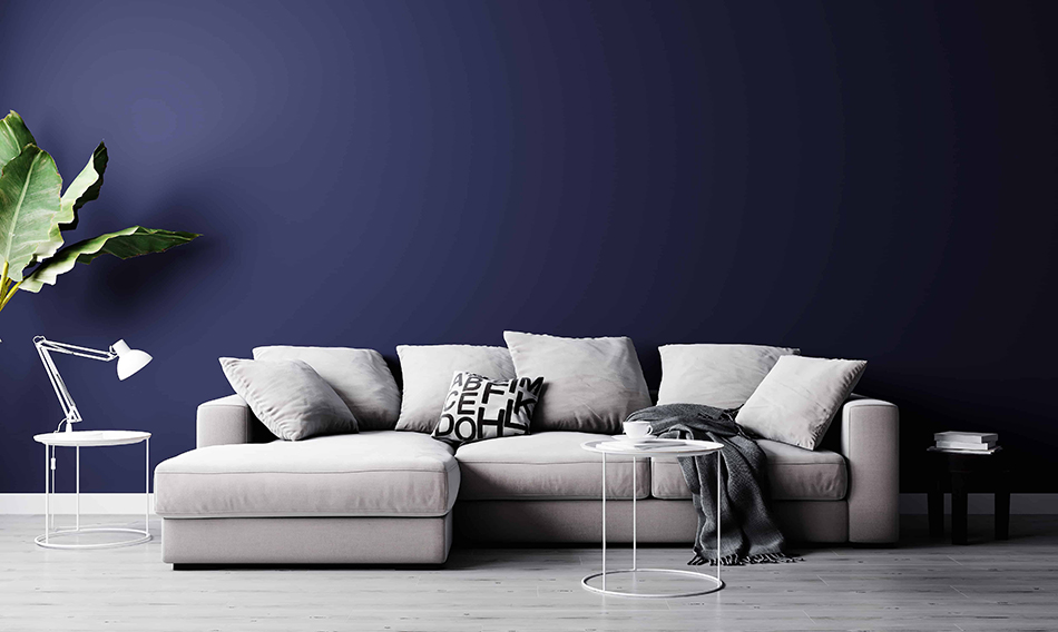 Gray Furniture with Blue Walls