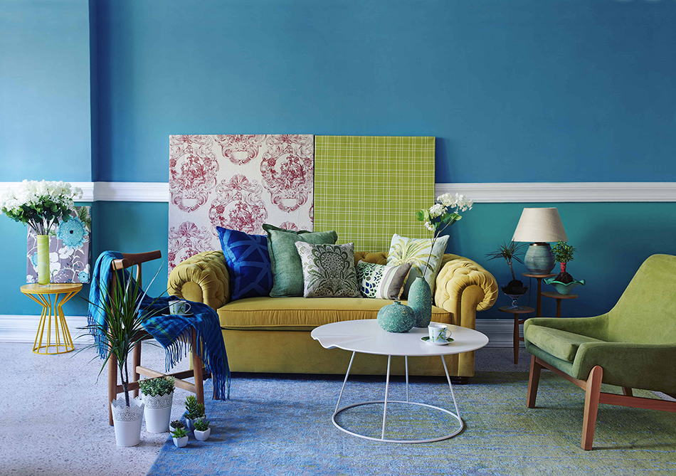 Green Furniture with Blue Walls
