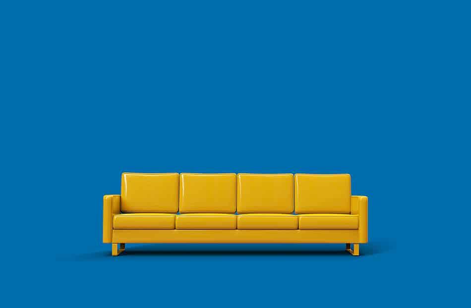 Mustard Yellow Leather Sofa