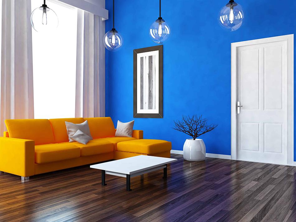 Orange Furniture with Blue Walls
