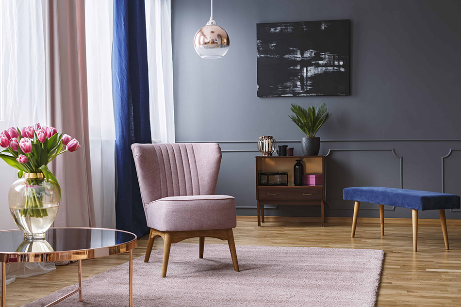Pink Furniture with Blue Walls