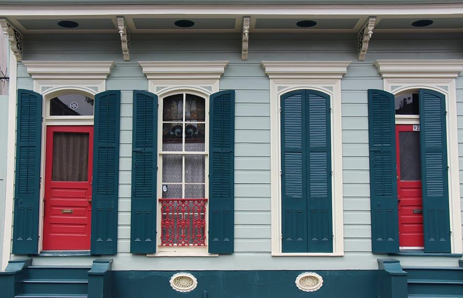 Red Door with Blue Shutters