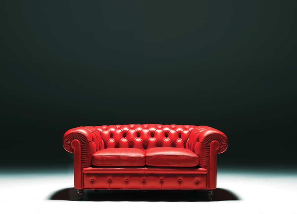 Royal Red Leather Sofa