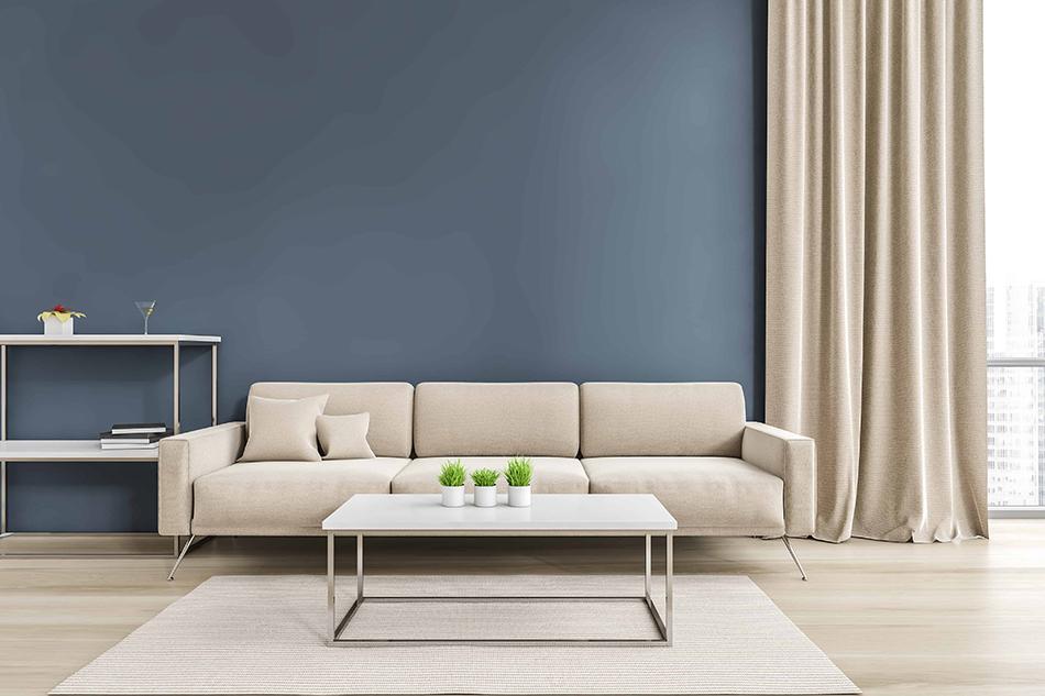 Sandy Beige Furniture with Blue Walls