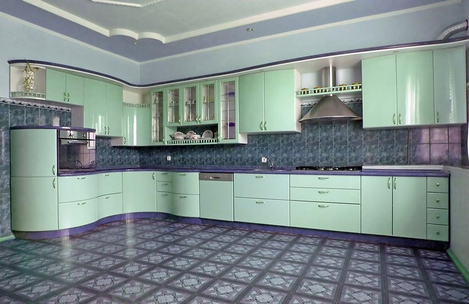 Spearmint green kitchen cabinets
