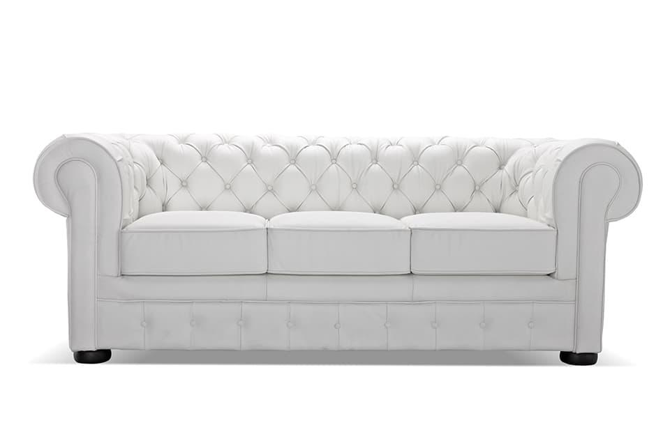 Timeless White Leather Sofa