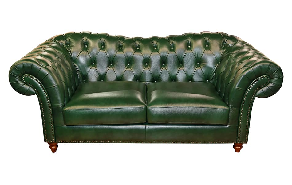Vintage Green Leather Sofa as a Showpiece