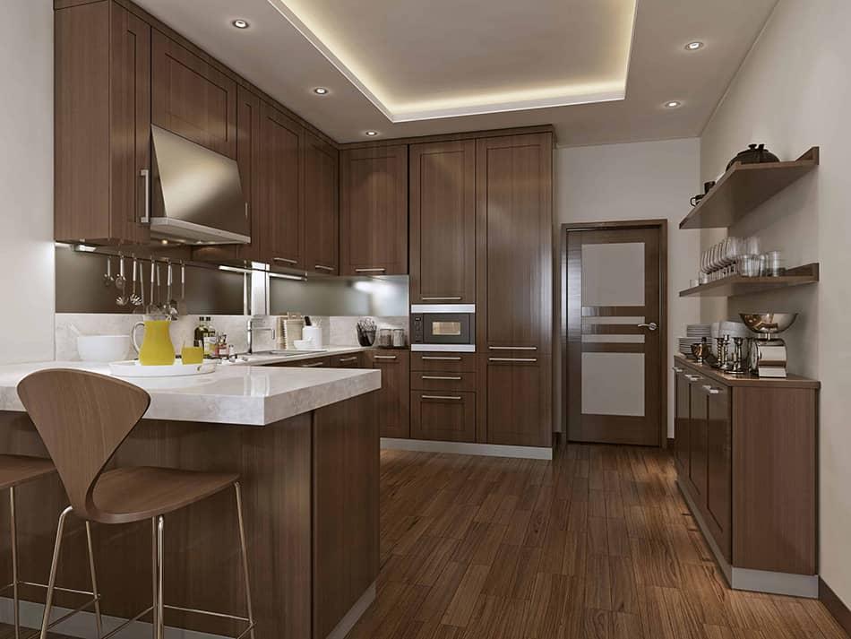 Walnut wooden cabinets