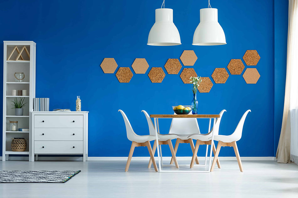 White Furniture with Blue Walls