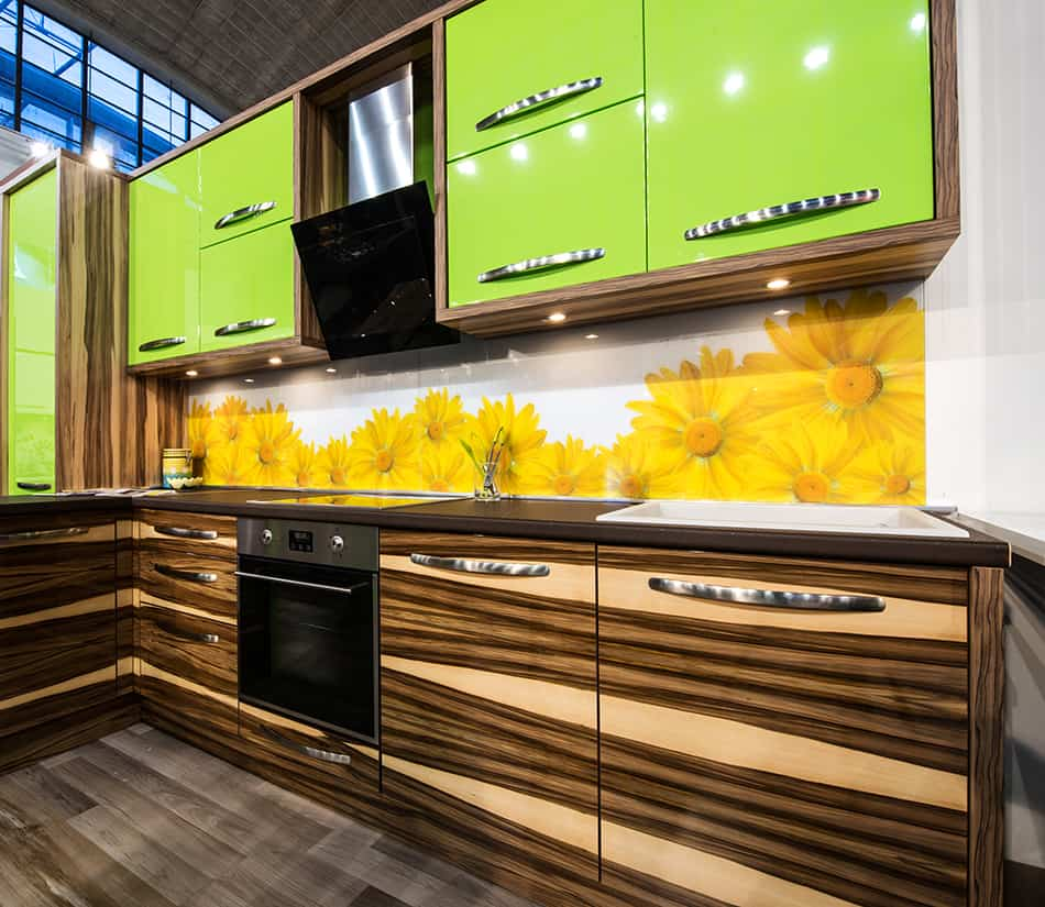 Zebrano base cabinets and lime green wall cabinets