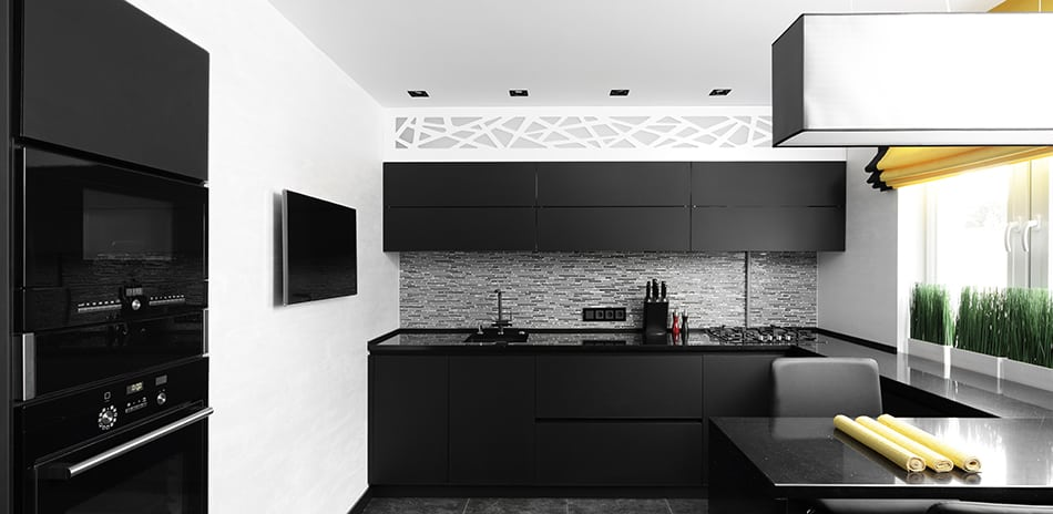 Black wooden cabinets