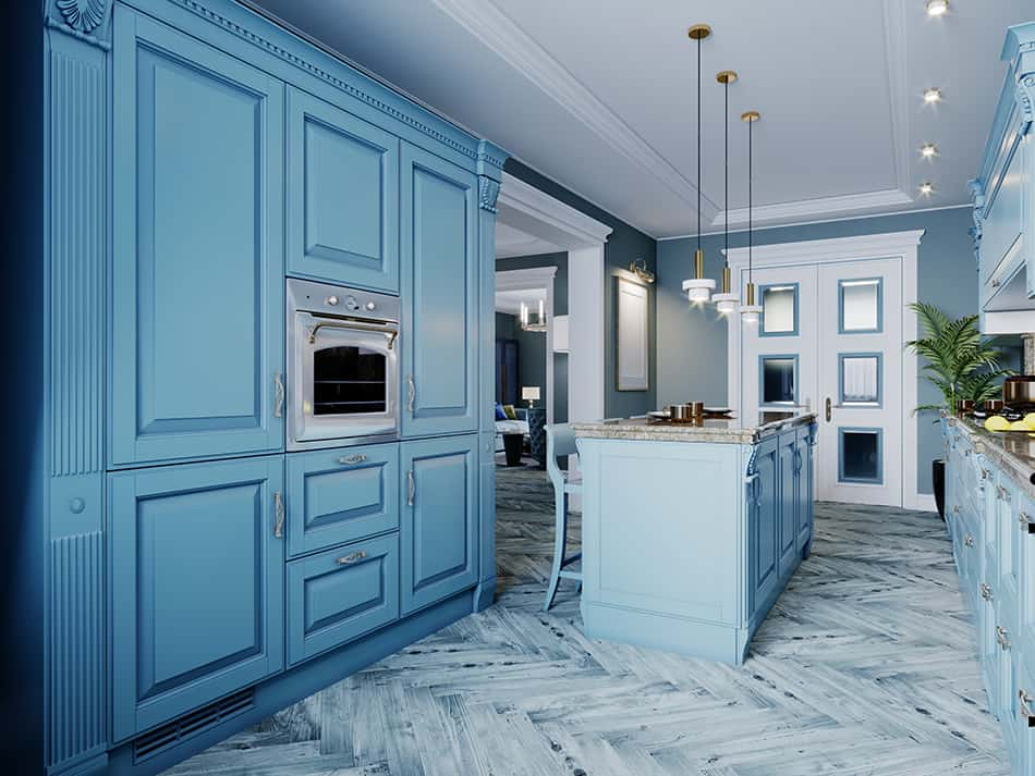 Blue wooden kitchen cabinets combining classic and contemporary design