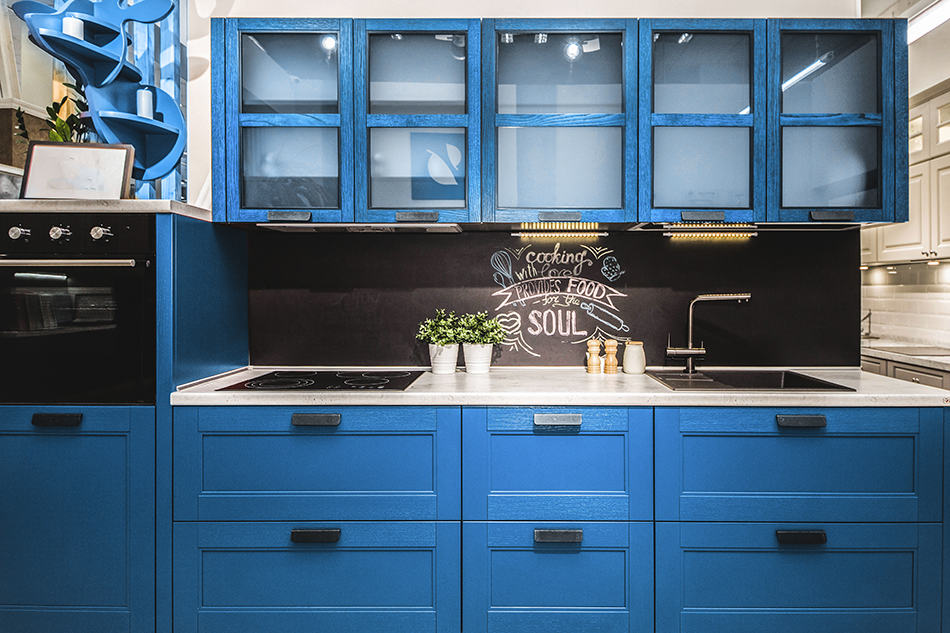 Blue wooden kitchen cabinets for modern and retro theme