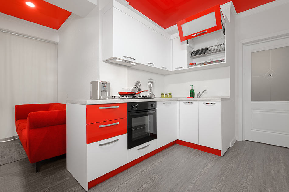 Contrasting colored cabinets
