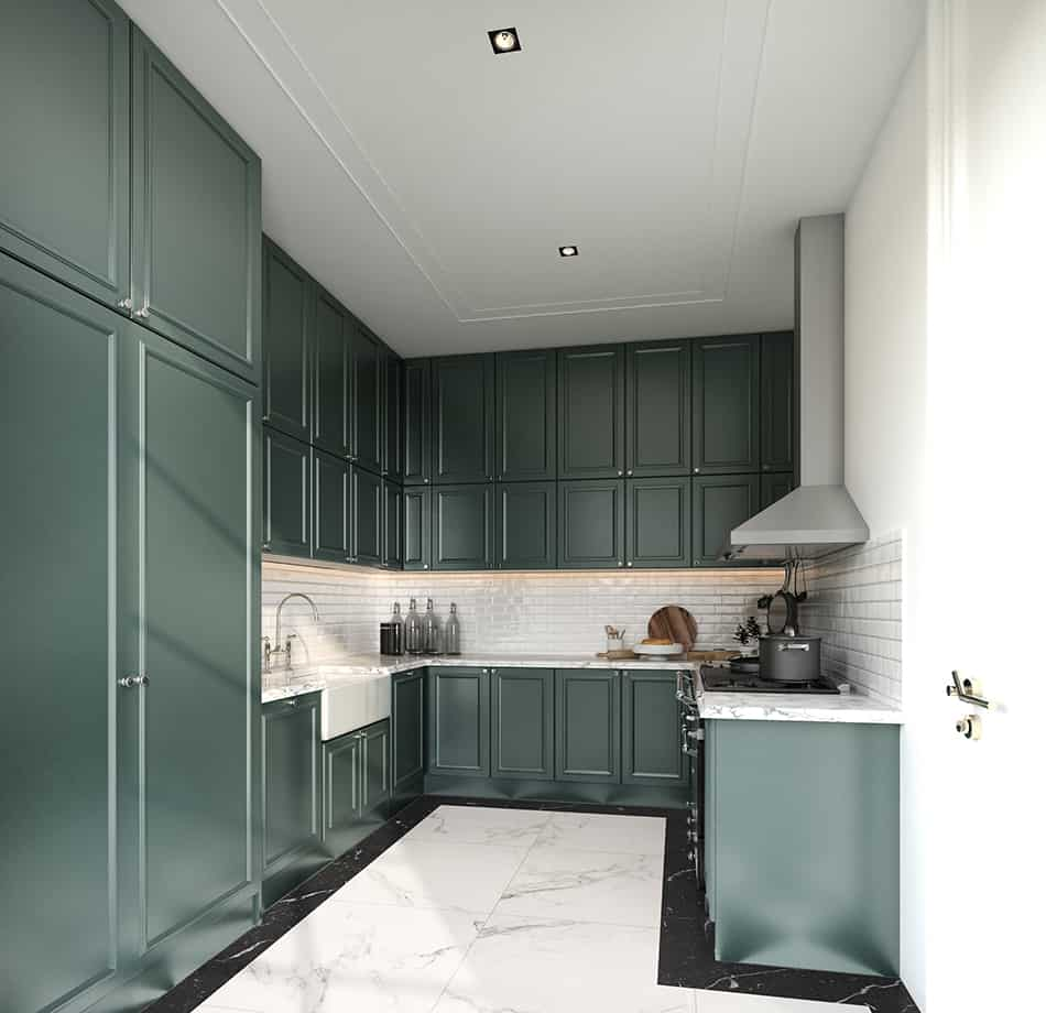 Dark seaweed green wooden cabinets