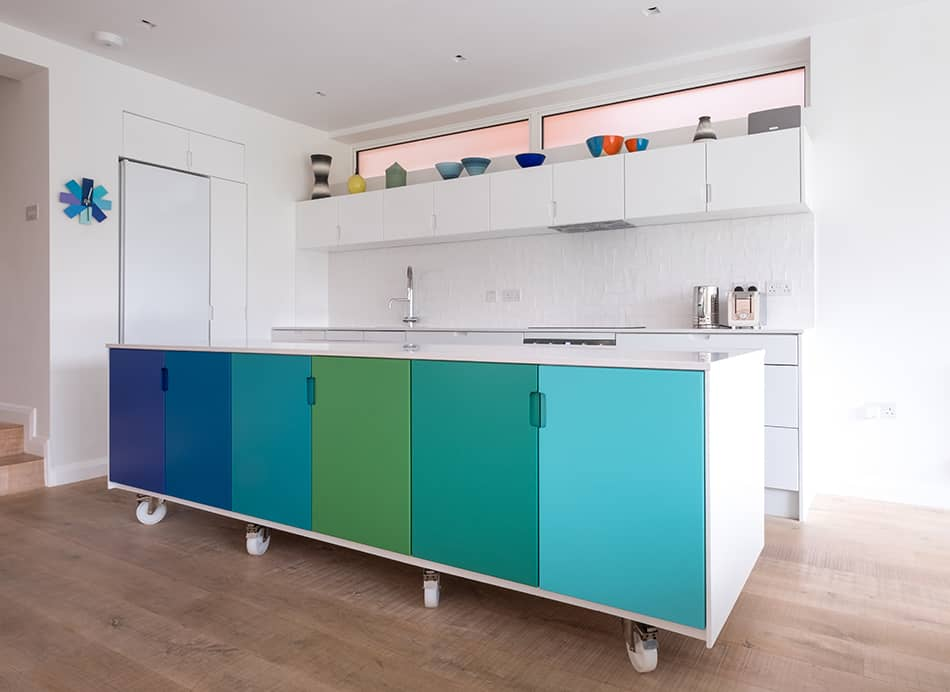 Different shades of the same color for each cabinet